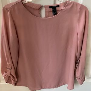 Pink buckle half sleeve blouse